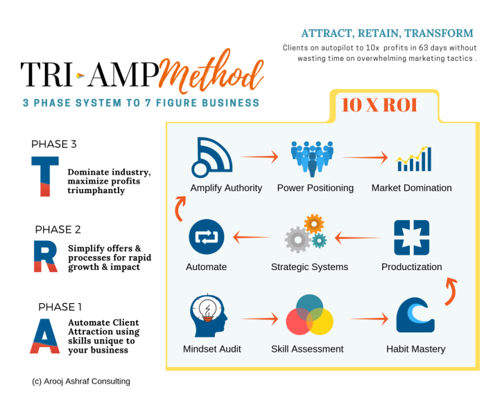 TriAmp Method is a three phase business accelerator that amplifies the power of branding, systems and mindset to position solo business owners as the experts in their industry so they can attract, retrain and transform their clients while scaling their business to 7 figures without overwhelming marketing tactics.